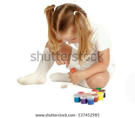 Child painting, isolated on white background - stock photo