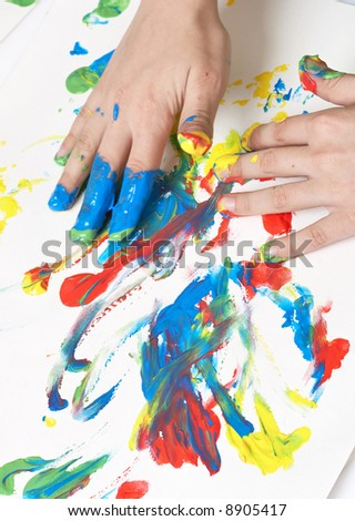 child painting with hands - stock photo