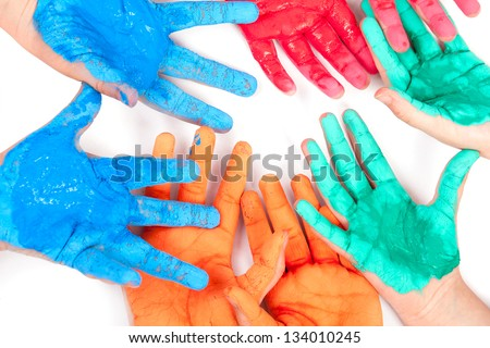 Child paints with hand - stock photo