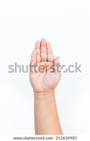 child palm hand gesture, isolated on a white background - stock photo
