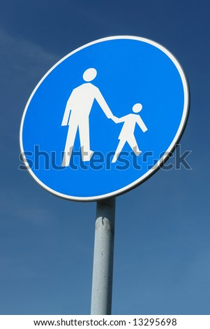 Child pedestrian roadsign over blue sky - stock photo