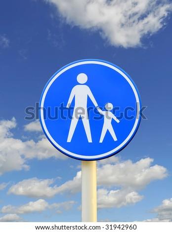 Child pedestrian roadsign over blue sky - stock photo