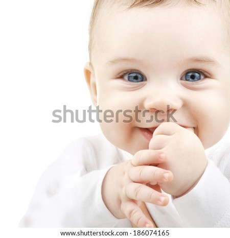 child, people and happiness concept - adorable baby - stock photo