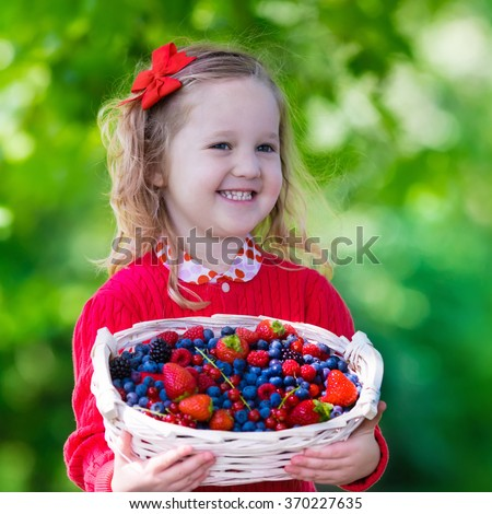 Child picking berries on a farm. Little girl eating strawberry, raspberry, blueberry, blackberry, red and black currant. Kids eat berry. Healthy nutrition for children. Toddler kid with fruit basket. - stock photo