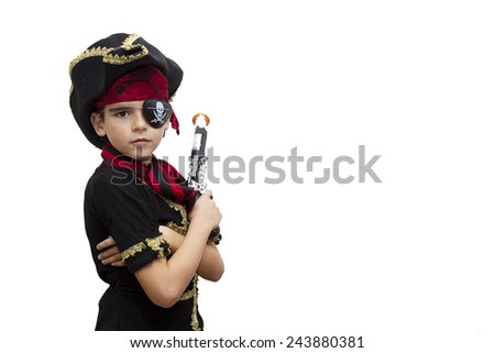 child pirate costume isolated on white - stock photo