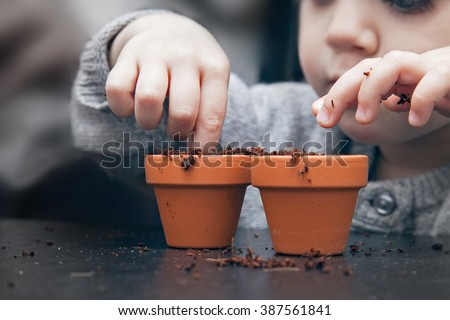 Child planting seeds in pots - stock photo