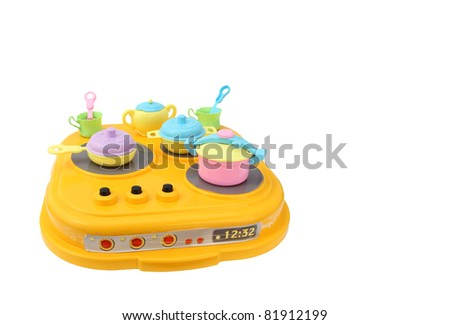 Child plastic pot cooking toy - stock photo