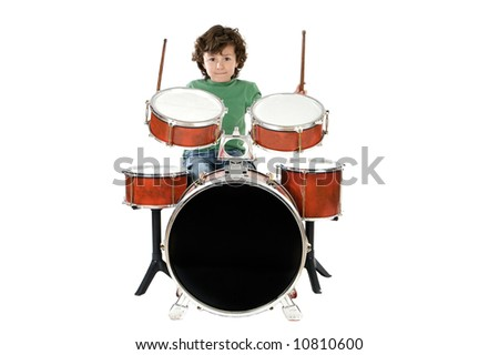 Child playing a drum  a over white background - stock photo