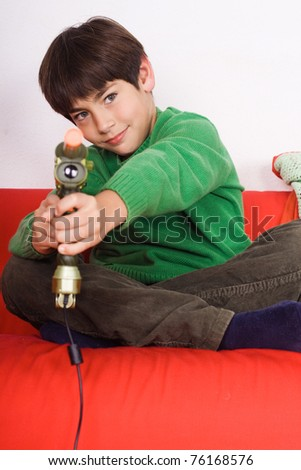 child playing a video game - stock photo