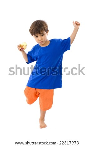Child Playing and eating an Apple . - stock photo