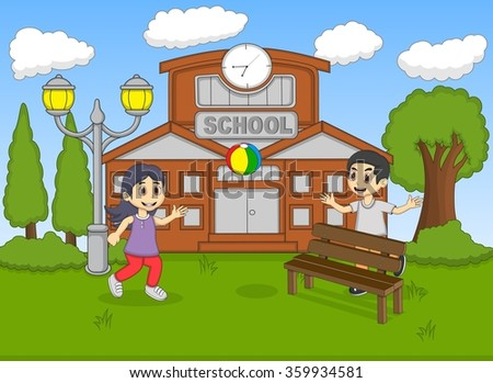 Child playing ball at the school cartoon
