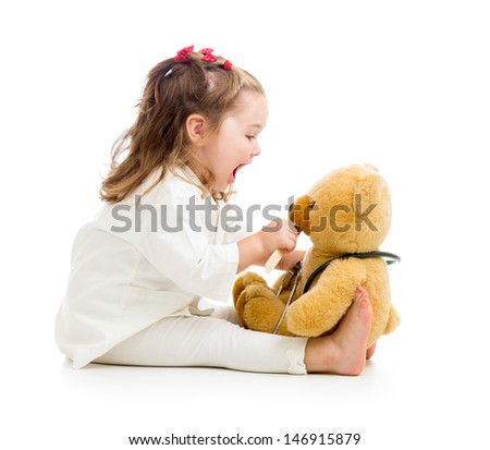 child playing doctor  - stock photo