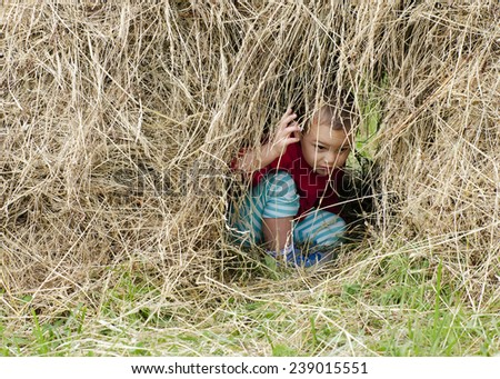 Child playing in a hay stack in rural garden. - stock photo