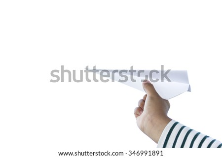 Child playing paper airplane.