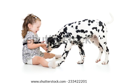 child playing puppy dog isolated on white - stock photo