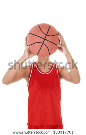 child playing the basketball a over white background - stock photo