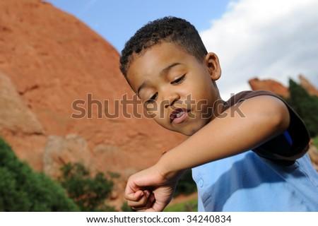 Child Playing wit a ladybug - stock photo