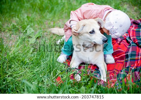 child playing with a dog - stock photo