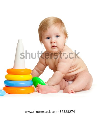 child playing with color toy - stock photo