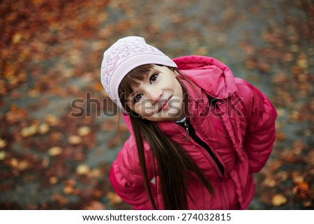 child portrait, expressive eyes of a little girl - stock photo