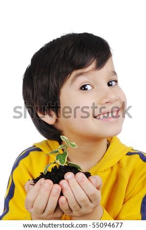 Child portrait, with plant - stock photo
