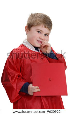 Child posing in red graduation gown, isolated on white