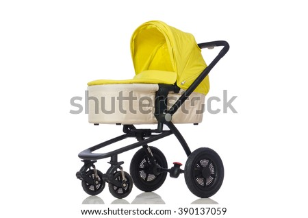 Child pram isolated on the white background - stock photo