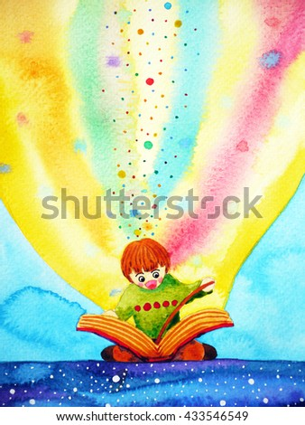 child reading big book with imagination and fun, watercolor painting design illustration - stock photo