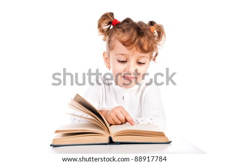 child reading book isolated on a white background