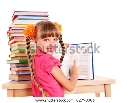 Child reading open  book on table. Isolated. - stock photo