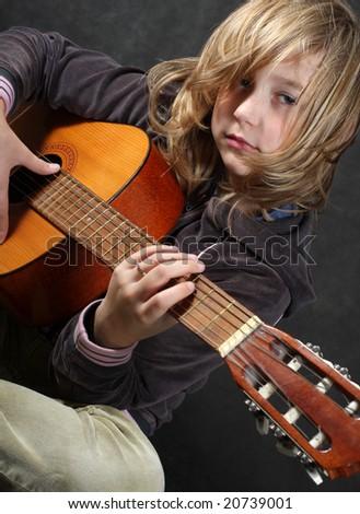 Child rock star - stock photo
