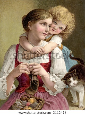 Child's arms wrapped around mother - circa 1890 vintage illustration - stock photo