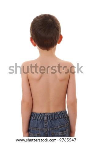 child's back isolated on white - stock photo
