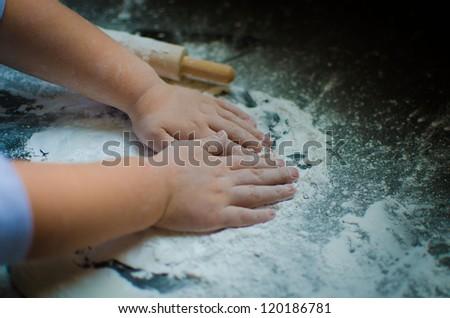 Child's Baking Hands - stock photo
