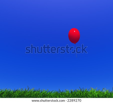 child's balloon and grass in the field on a background clear sky - stock photo
