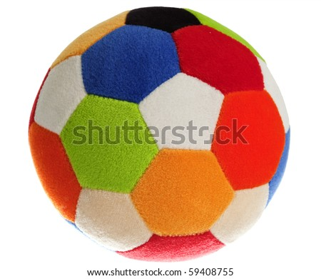 Child's Colorful Foam Ball, Isolated, White - stock photo