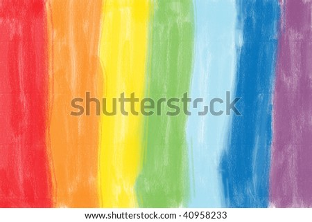 Child's crayon drawing of a rainbow. Bright multi-colored background illustration.