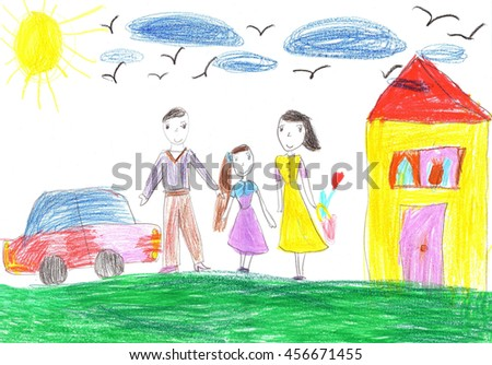 Child's drawing a happy family for a walk  - stock photo
