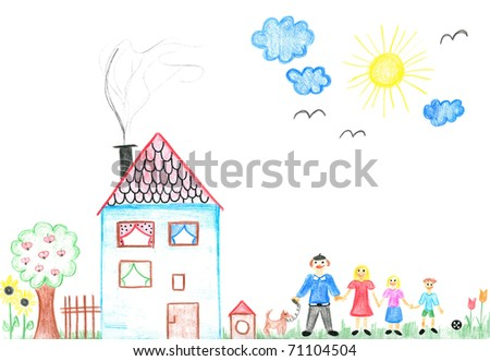Child's drawing happy family with dog. Father, mother, daughter, son and their big house.