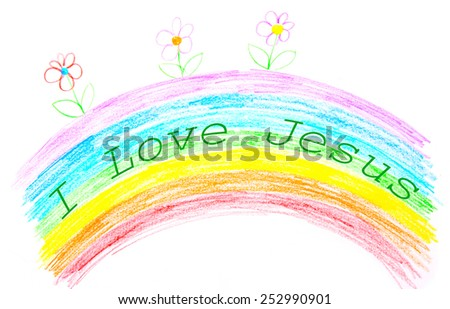 Child's drawing, I love Jesus text writing on rainbow - stock photo