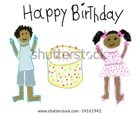 Child's drawing of a boy & girl with Happy Birthday - stock photo