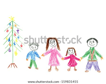 Child's drawing of a family in front of Christmas tree.  - stock photo