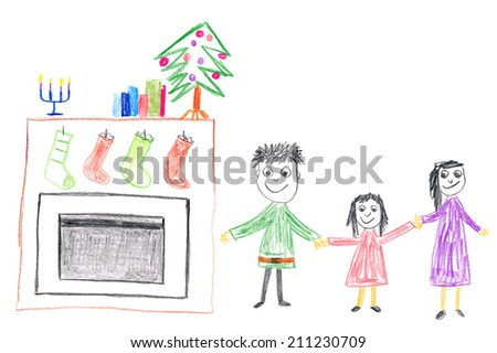 Child's drawing of a family in front of fireplace and christmas tree.  - stock photo