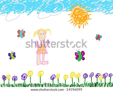 Child's drawing of a happy little girl - stock photo