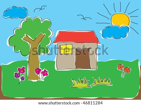 Child's drawing of a house in a nice natural environment