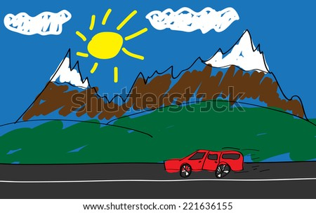 Child's drawing of a red car in the road into the mountains. (Raster) - stock photo