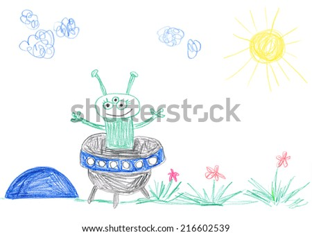 Child's drawing of alien landing on meadow.  - stock photo