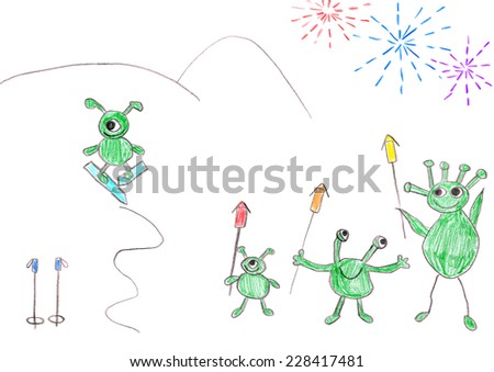 Child's drawing of Aliens celebrating happy New year with big fireworks. - stock photo