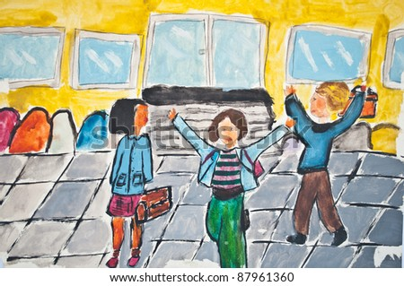 childs drawing of children going in school - Children Drawing Picture
