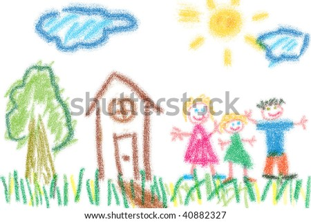 Child's drawing of family and their house. Simple crayon drawing style.